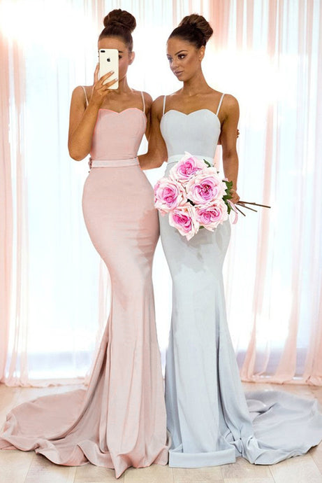 Trumpet/Mermaid Satin Sleeveless Spaghetti Straps Bridesmaids Dresses