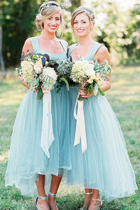 Asymmetrical Tulle Sleeveless Short Bridesmaids Dresses