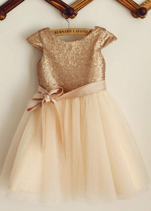 A-line/Princess Sequined Sash Flower Girl Dresses
