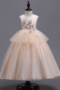 Tulle Floor-Length Appliques Lace Sleeveless Flower Girl Dresses