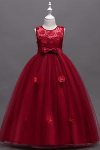 A-Line/Princess Tulle Appliques Lace Flower Girl Dresses with Bow(s)