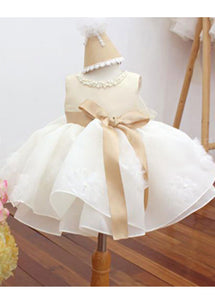 A-Line/Princess Chiffon Sleeveless Short Flower Girl Dresses Bow(s)