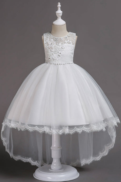 Asymmetrica Sleeveless Flower Girl Dresses Appliques Lace