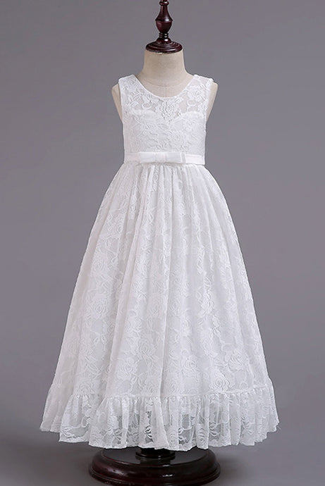A-Line/Princess Lace Floor-Length Flower Girl Dresses