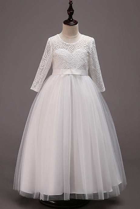 264d8bf452f Long Sleeves Lace Flower Girl Dresses