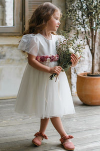 Tea Length Tulle Short Sleeves Flower Girl Dresses with Flower(s)
