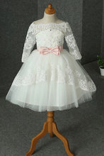 Lace Long Sleeves Flower Girl Dresses with Bow(s)