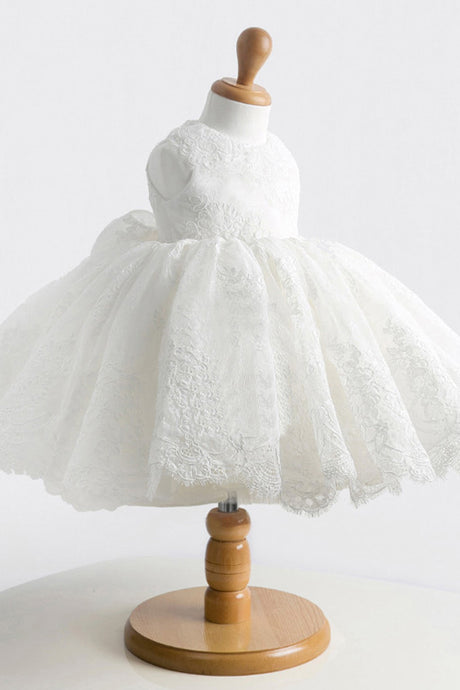 Short Lace Scoop Neck Bow(s) Flower Girl Dresses