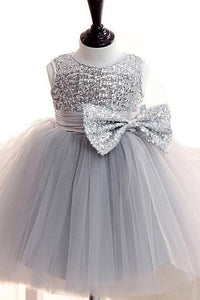 Scoop Neck Lace Sleeveless Bow(s)  Sequined Flower Girl Dresses