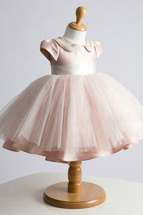 A-Line/Princess Tulle Short Sleeves Sweetheart Beading Flower Girl Dresses