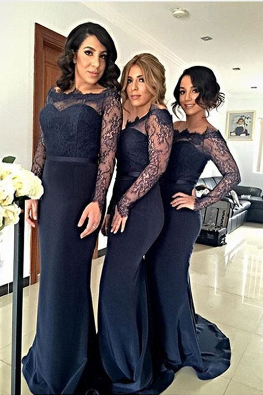 Trumpet/Mermaid Floor-Length  Lace  Long Sleeves Bridesmaids Dresses
