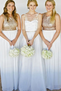 A-Line/Princess Sequined Sleeveless Floor-Length Bridesmaids Dresses