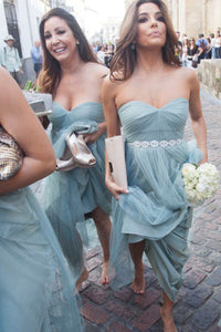 Tulle Sleeveless  Sweetheart Long Bridesmaids Dresses with Beading
