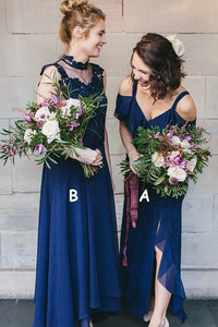 Tulle 1/2 Sleeves Floor-Length 2019 Bridesmaids Dresses