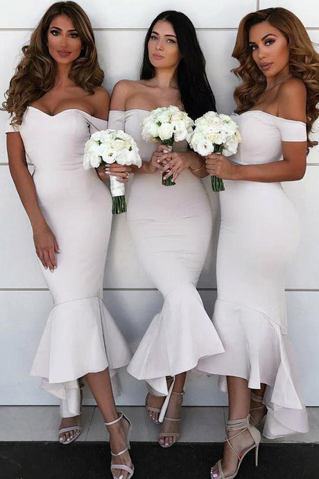 Trumpet/Mermaid Satin  Off-the-Shoulder Asymmetrical Bridesmaids Dresses