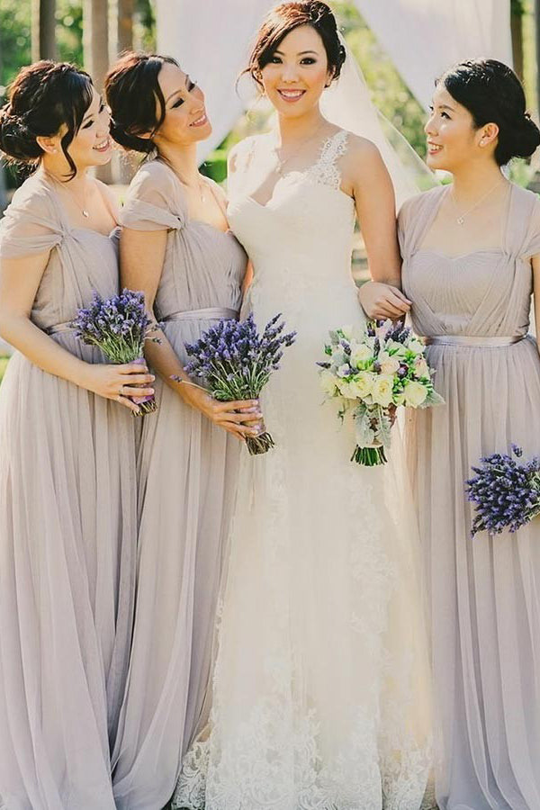 A-Line/Princess Tulle Floor-Length Bridesmaids Dresses