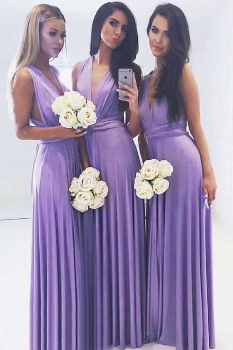A-Line/Princess  Chiffon Floor-Length  Sleeveless Bridesmaid Dresses