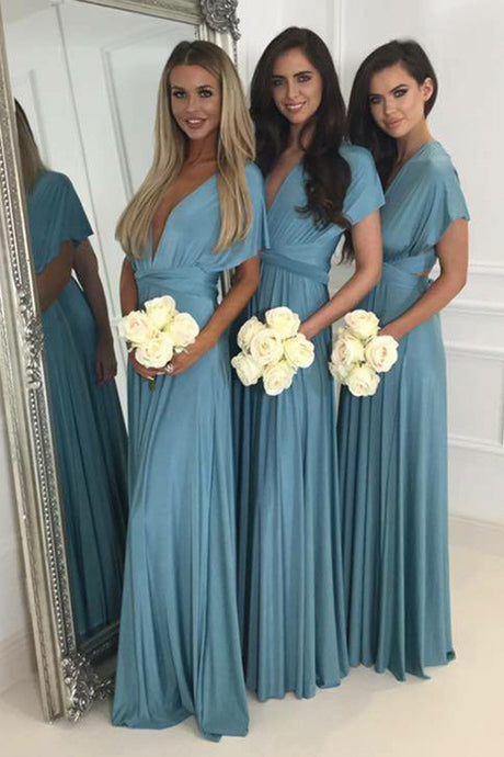 Short Sleeves Chiffon Floor-Lengt Bridesmaid Dresses