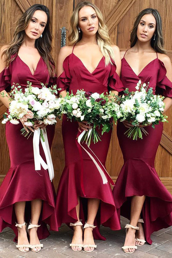 Trumpet/Mermaid Asymmetrical Satin Spaghetti Straps Bridesmaids Dresses