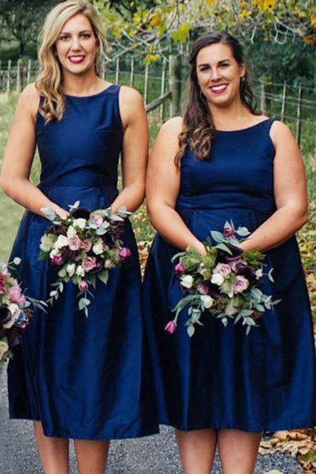 Short  Satin  Scoop Neck Bridesmaids Dresses