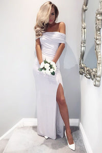 White Off-the-Shoulder Floor-Length Long Bridesmaids Dresses