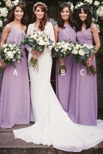 A-Line/Princess Sleeveless  Chiffon Floor-Length Bridesmaids Dresses