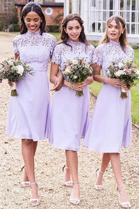 1/2 Sleeves Lace Scoop Neck Short Bridesmaids Dresses