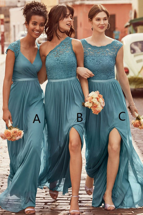 Lace Floor-Length Sleeveless Bridesmaids Dresses