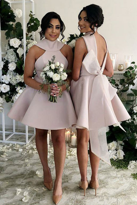 Short Satin Open Back Bridesmaids Dresses with Bow(s)