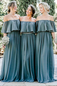 Chiffon Off-the-Shoulder Floor-Length Bridesmaids Dresses