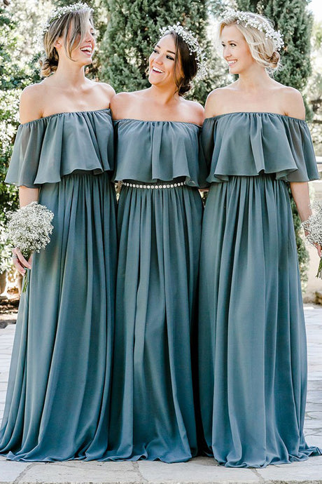 Chiffon Off-the-Shoulder Floor-Length Bridesmaids Dresses 2019