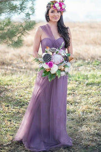 A-Line/Princess Tulle  Sleeveless  One-Shoulder Bridesmaids Dresses