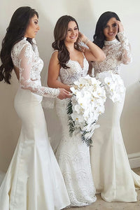 Trumpet/Mermaid Lace Long Sleeves Bridesmaids Dresses