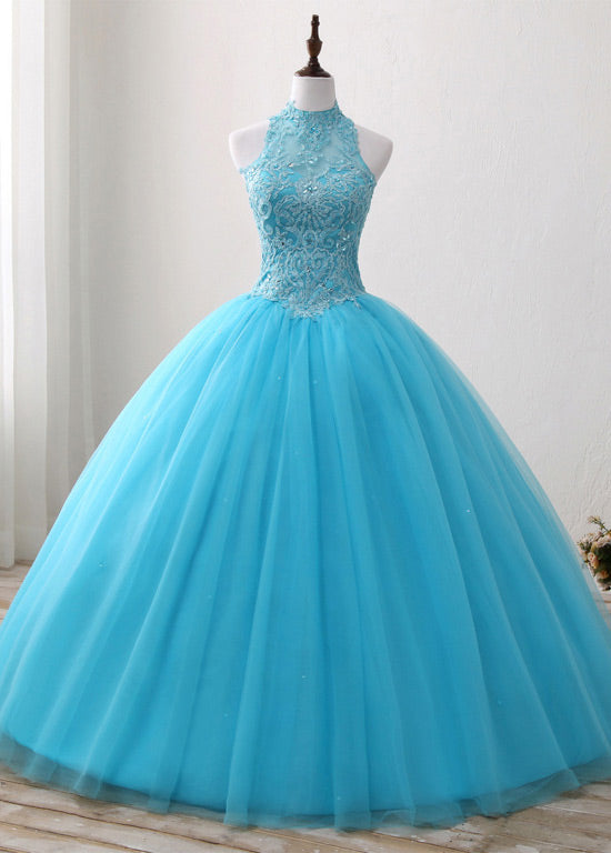A-Line/Princess Tulle Appliques Lace Prom Dresses with Beading