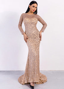 Elegant Long Sleeves Sequined Prom Dresses