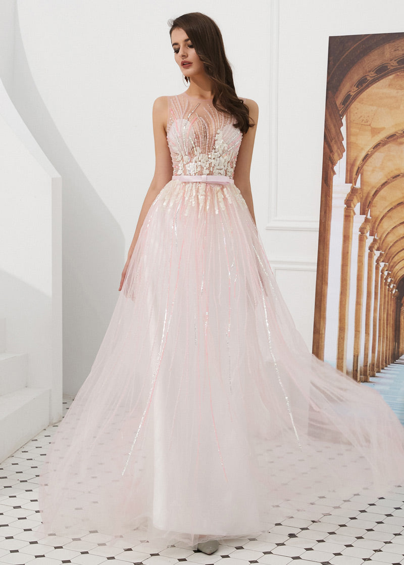 A-Line/Princess Tulle Beading Sleeveless Prom Dresses