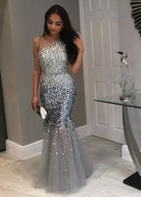 Trumpet/Mermaid Sleeveless Floor-Length Sequined Prom Dresses