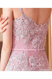Spaghetti Straps Lace Sweep Train Sleeveless Prom Dresses