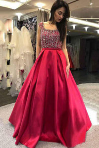 A-Line/Princess Floor-Length Satin Beading Prom Dresses