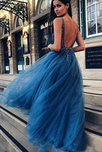 A-Line/Princess  Beading Tulle Sleeveless Prom Dresses