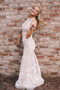 Trumpet/Mermaid Scoop Neck Lace Floor-Length  Prom Dresses
