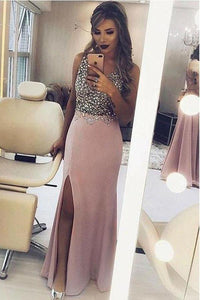 Regular Straps Satin Beading Sleeveless Prom Dresses