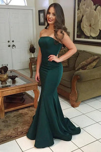 Trumpet/Mermaid Sweep Train Satin Sweetheart Prom Dresses