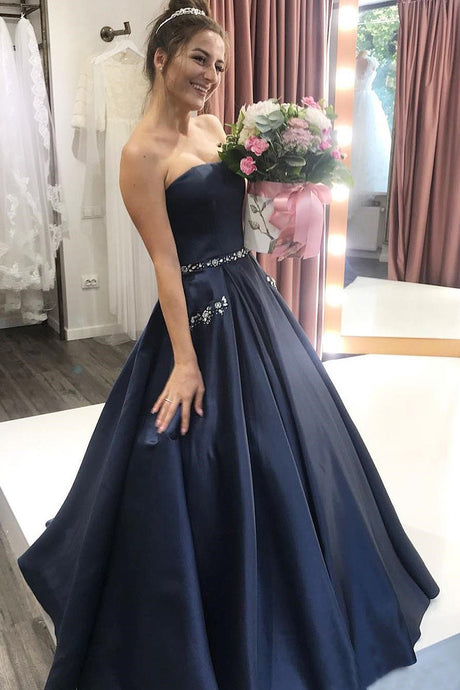 Sweetheart Floor-Length Satin Sleeveless Prom Dresses