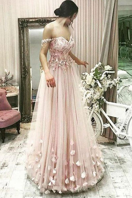 Off-the-Shoulder Tulle  Appliques Lace Prom Dresses