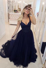 Floor-Length Sleeveless Beading V-neck Tulle Prom Dresses