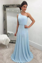 A-Line/Princess  One-Shoulder Chiffon Floor-Length Bridesmaids Dresse