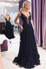 Tulle Open Back Appliques Lace Floor-Length Evening Dresses
