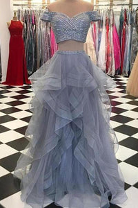 Sexy  Off-the-Shoulder Tulle  Floor-Length Sequined Prom Dresses