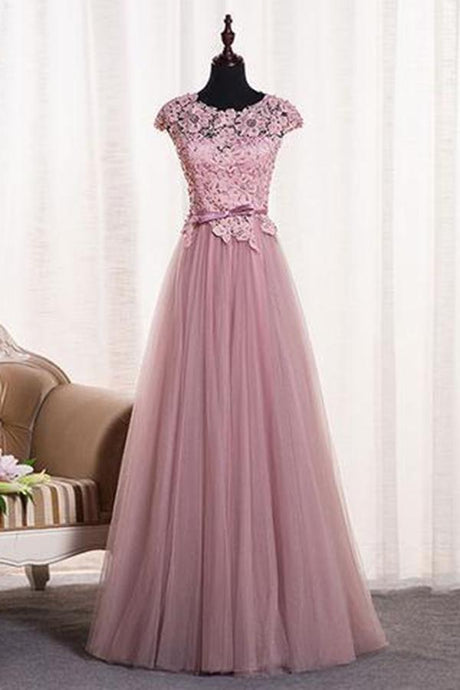 A-Line/Princess Sash Tulle Floor-Length Lace Prom Dresses